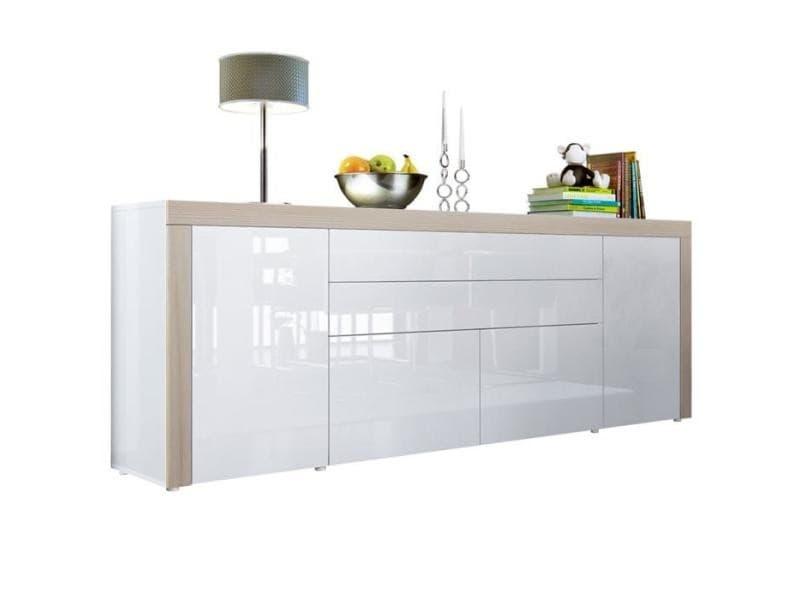 Buffet blanc haute brillance / avola-champagne 200 cm