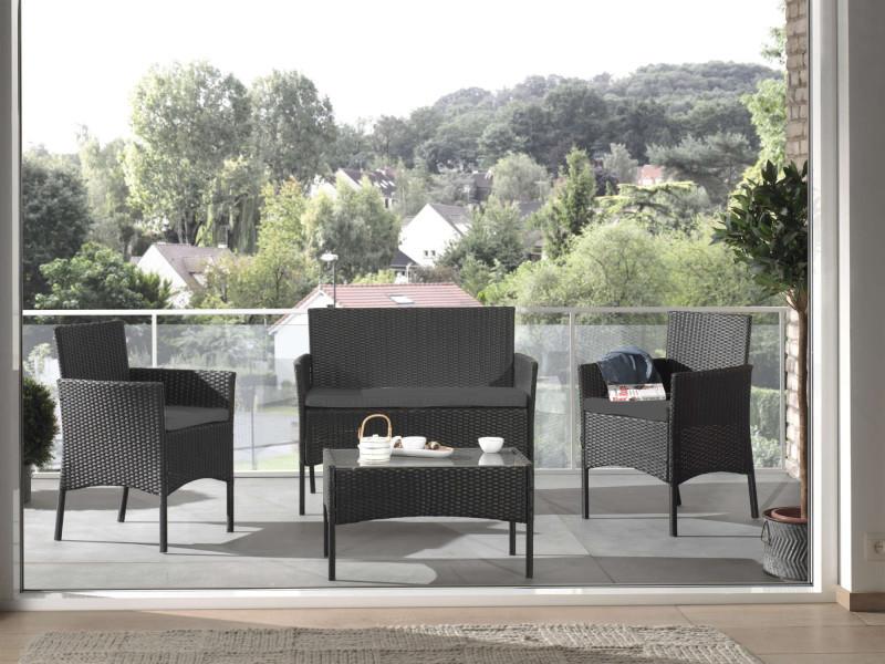 Marbella - salon bas de jardin 4 places - en résine tressée - noir avec coussins gris couleur - noir