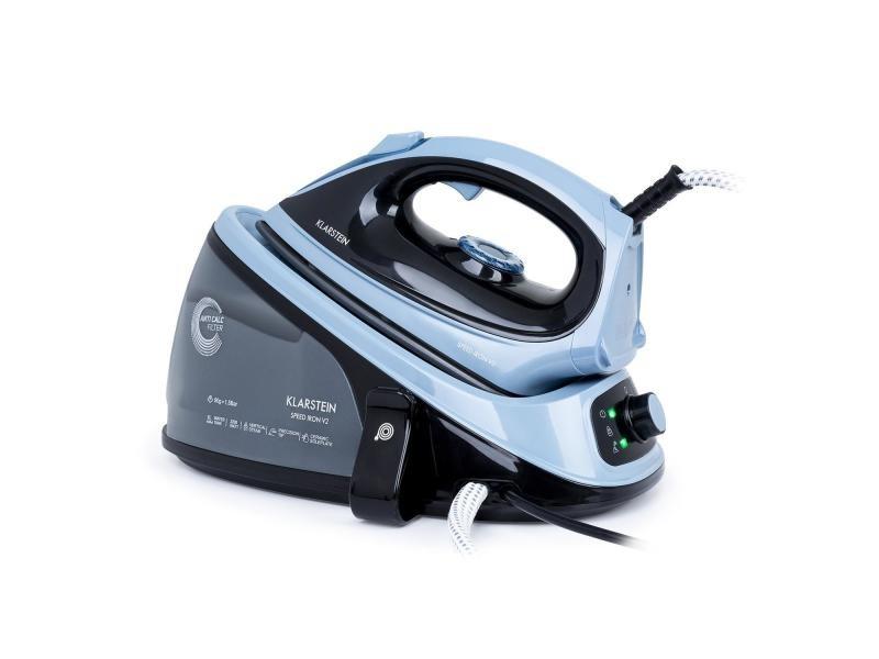 Klarstein speed iron v2 fer à repasser vapeur 2100w - pression 40g/mn - réservoir 1100 ml - semelle easy glide - noir & bleu SI5-Speediron V2 BL