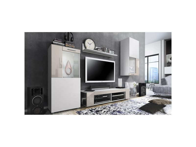 Ensemble de meubles de salon en blanc et sable led blanc