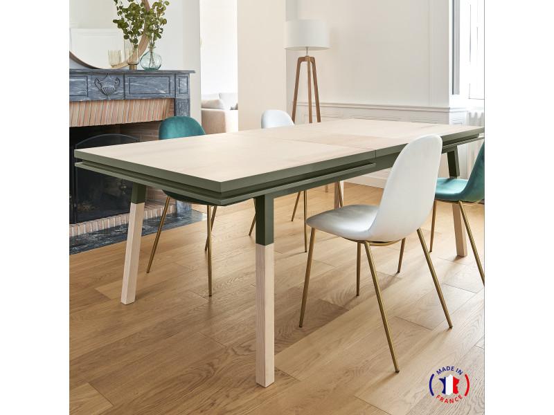 Table extensible bois massif 160x100 cm vert lancieux - 100% fabrication française