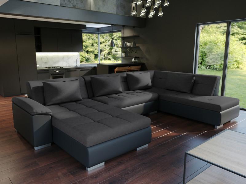 Canapé d'angle en u panoramique convertible lemon noir