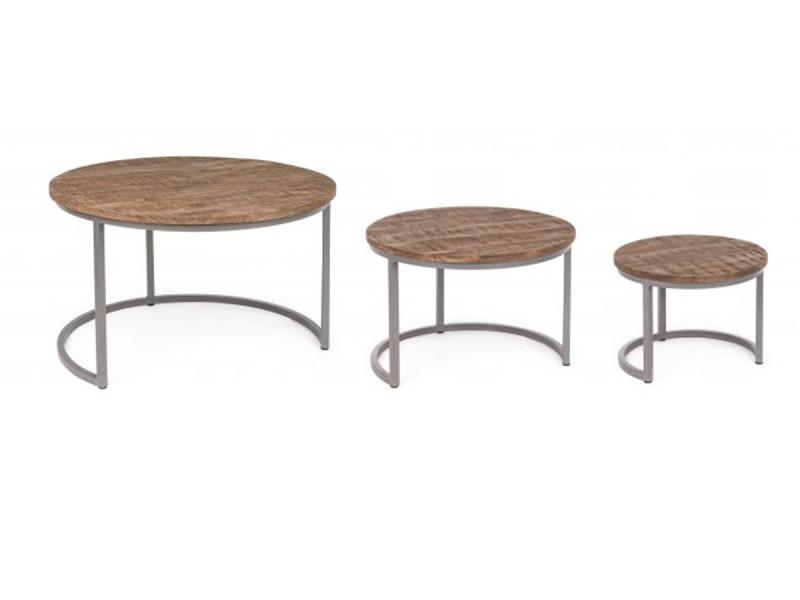 Set de 3 tables basses rondes en bois et fer - pegane -