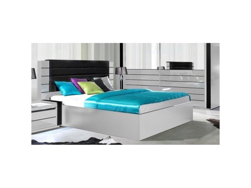 Lit adulte 180cm design lina blanc et noir brillant + tête de lit en simili cuir