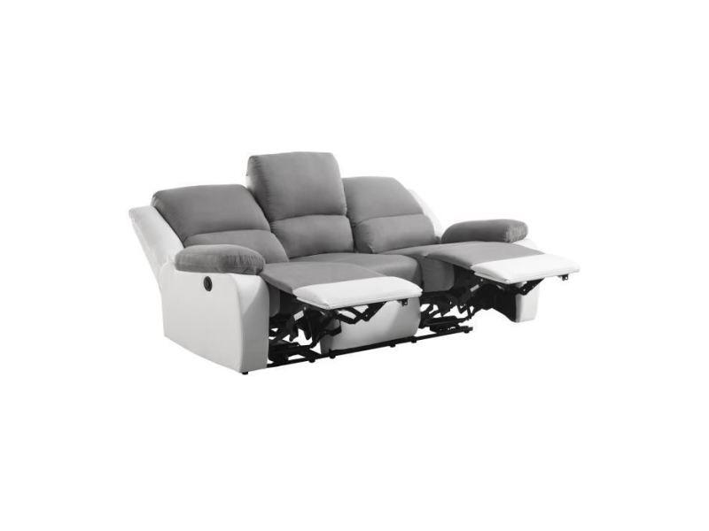 Canape - sofa - divan relax canapé de relaxation électrique 3 places - simili blanc et tissu gris - contemporain - l 190 x p 93 cm