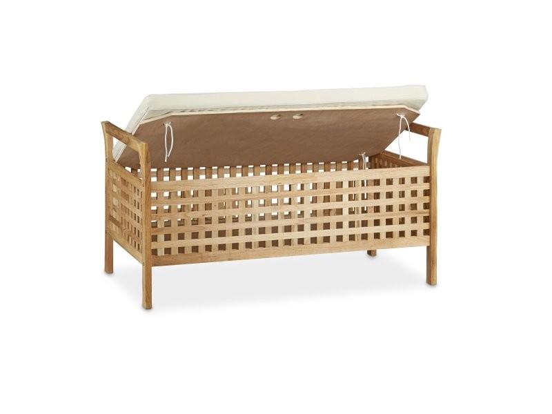 banc de rangement en bois de noyer banquette assise coffre. Black Bedroom Furniture Sets. Home Design Ideas