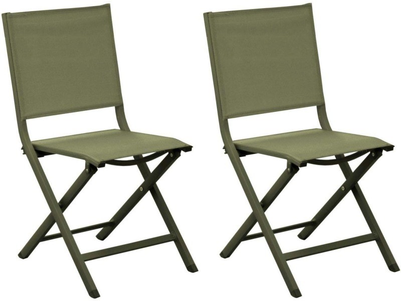 Chaises jardin pliantes en aluminium thema (lot de 2) vert
