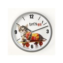 Horloge ou pendule chat sur skate