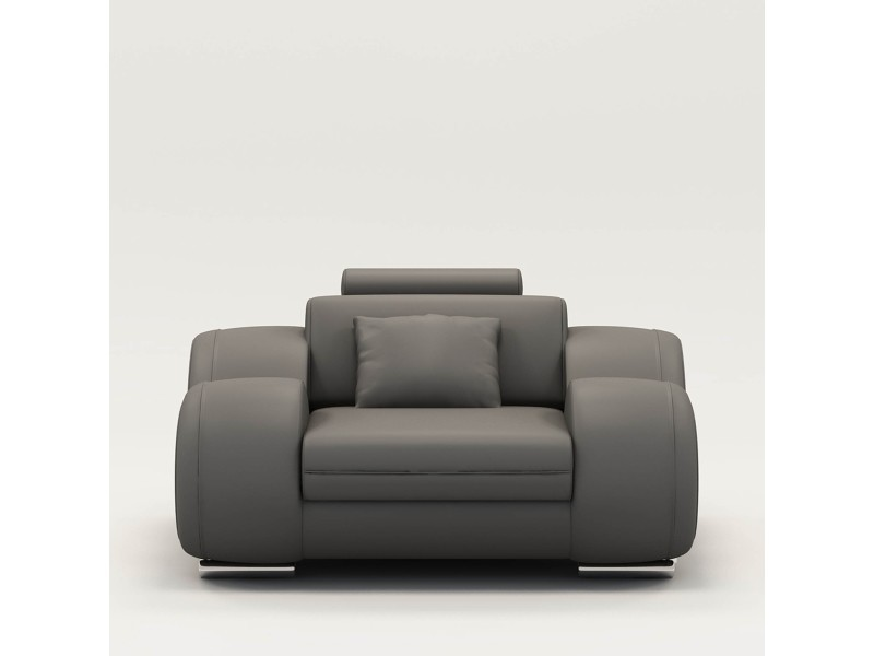 Fauteuil cuir relax design gris oslo