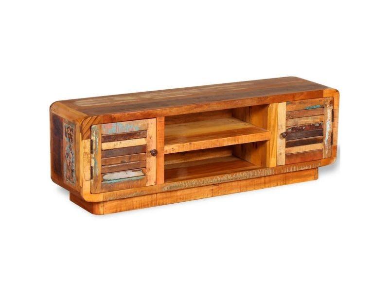 Meuble télé buffet tv télévision design pratique bois de récupération massif 120 cm helloshop26 2502157