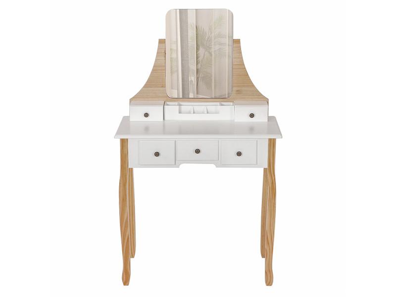 Coiffeuse hombuy de style minimalisme nordique miroir carré couleur bois et blanc