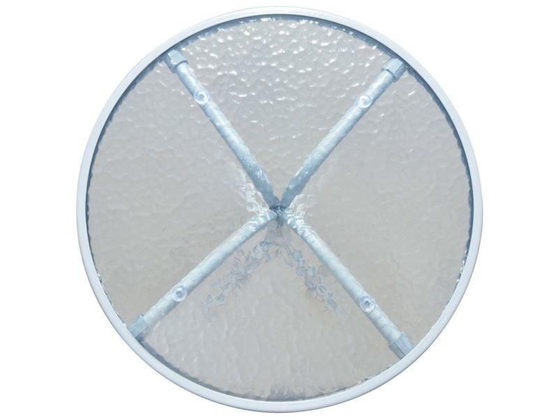 Icaverne - tables d'extérieur serie table d'extérieur ronde 50 x 71 cm acier gris