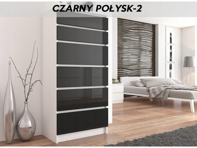 Sofia w2 | commode contemporaine chambre salon bureau | 128x70x40 | dressing 6 tiroirs | meuble de rangement scandinave | blanc/noir laqué