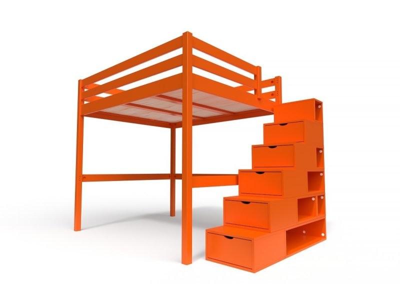lit mezzanine sylvia avec escalier cube bois 160x200