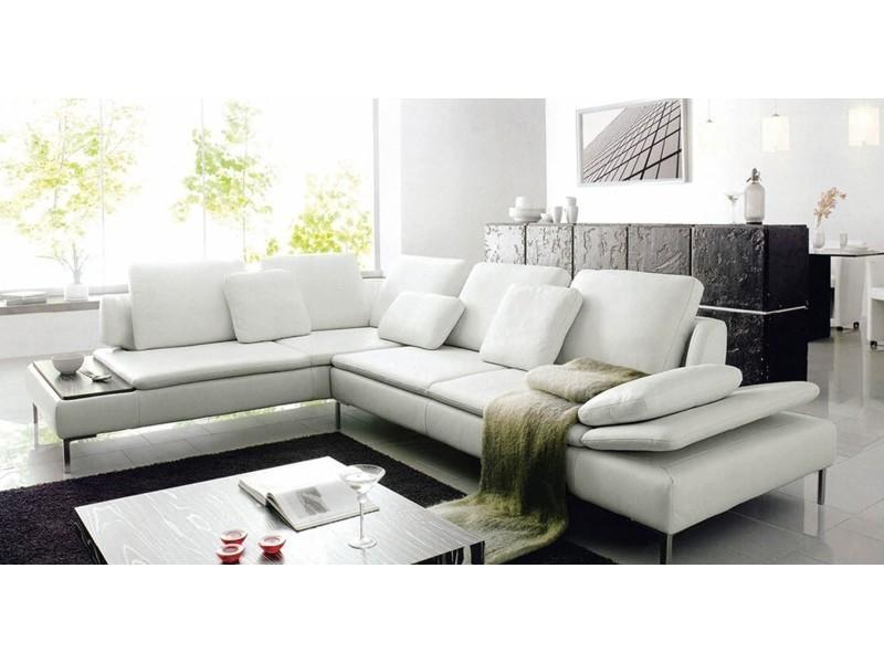 Canapé d'angle design cuir blanc majestic-