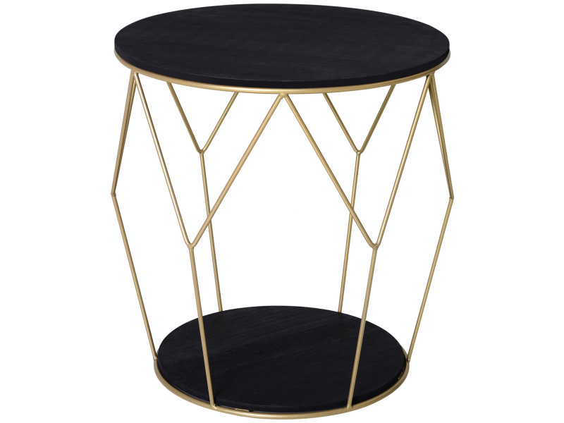 Table basse ronde design style art déco ø 45 x 48h cm mdf noir métal doré