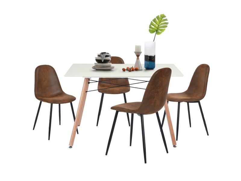Ensemble table à manger rectangulaire et lot de 4 chaises scandinave marron