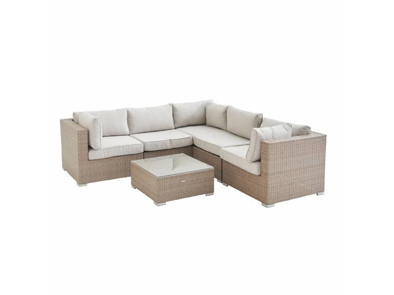 Salon de jardin en résine tressée - napoli - beige. Coussins beige - 5 places - 2 fauteuils sans accoudoir. 3 fauteuils d'angle. Une table basse