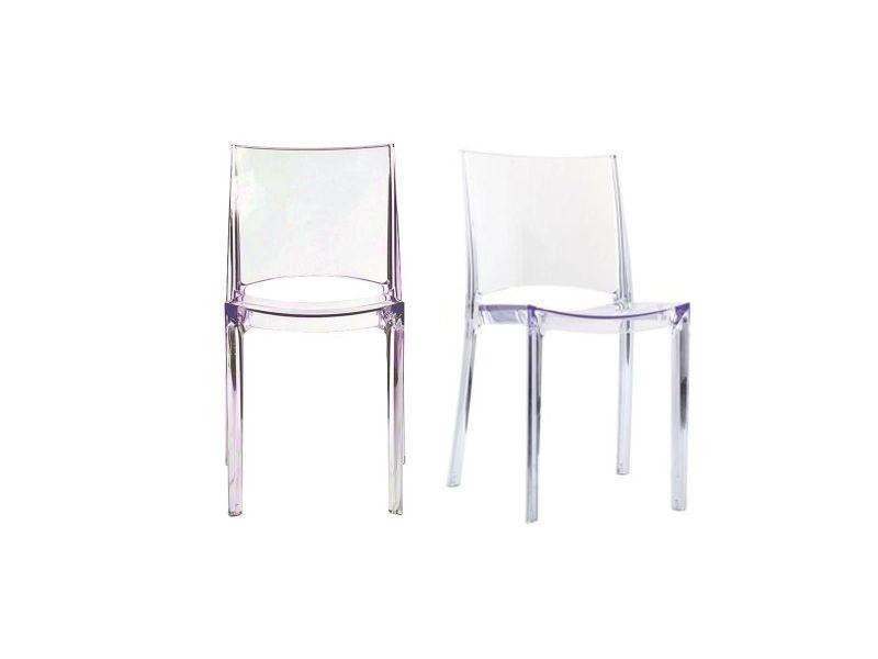 Chaises transparentes empilables design lot de 2 kalya - Chaises transparentes conforama ...