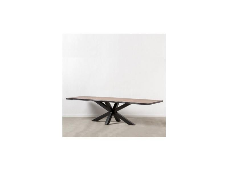 Table bois marron et pieds métal noir 300cm essential