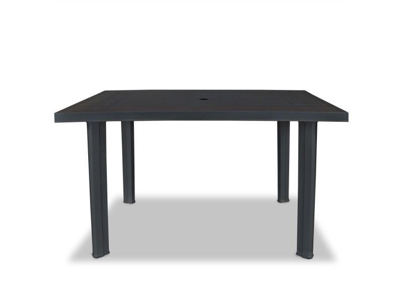 Icaverne - tables d'extérieur selection table de jardin 126 x 76 x 72 cm plastique anthracite