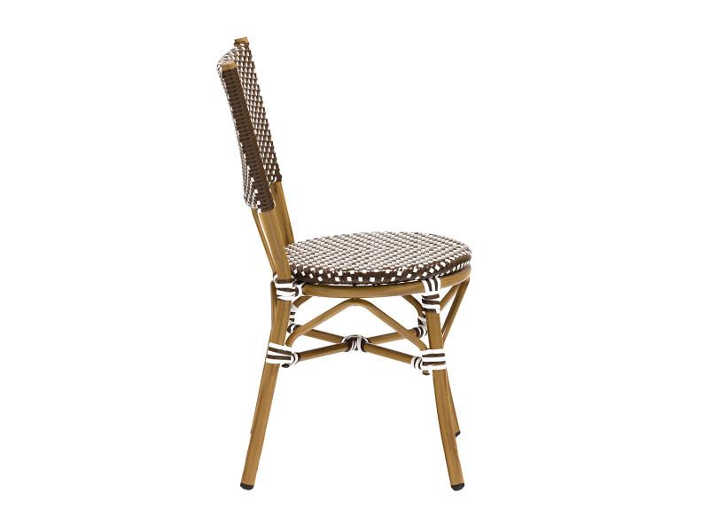 Lot 6 chaises bistrot rene alu et polyrotin marron rotin - Conforama chaise bistrot ...