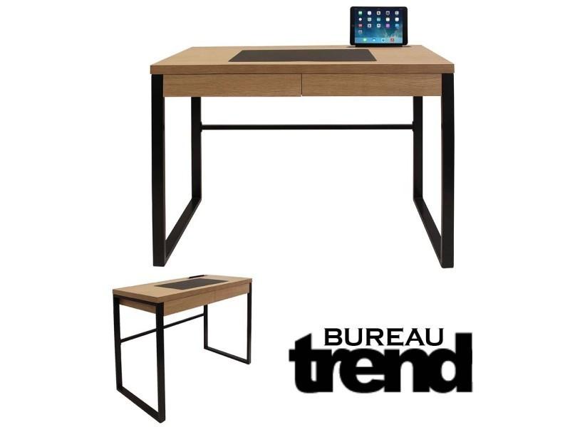 Bureau industriel trend bois et metal noir vente de ego - Bureau industriel bois et metal ...