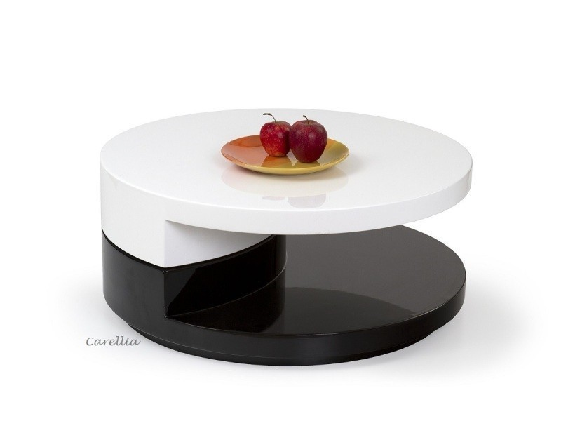Table basse design ronde laque – blanc / noir