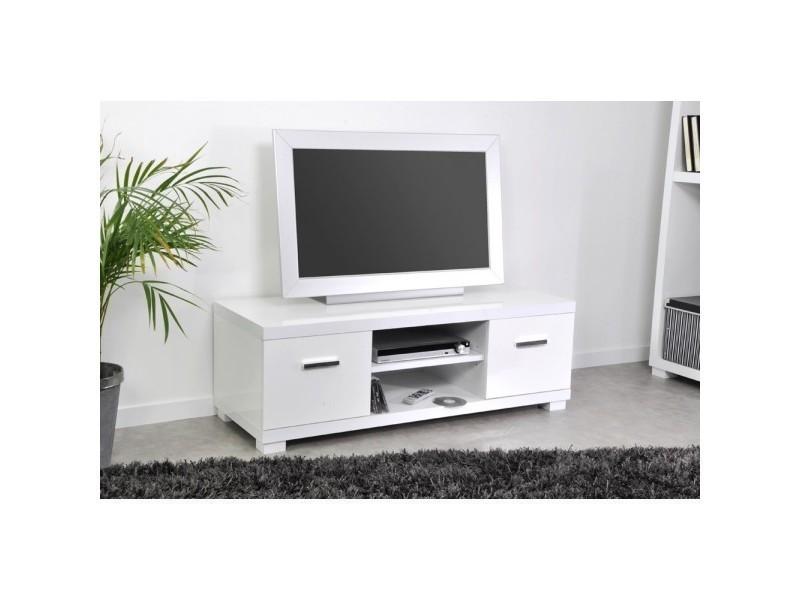 Meuble tv 120 cm cash l 119 x h 45 x p 40 5 cm blanc - Meuble tv 120 cm blanc ...