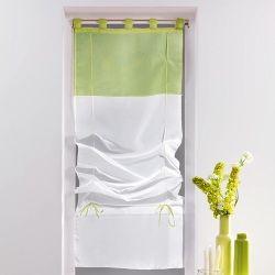 Un store droit à passant - rideau voile bicolore blanc / vert tilleul 45 x 180 cm
