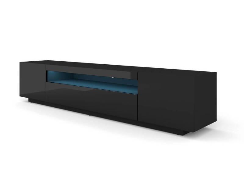 Subleem meuble tv 200 cm space avec led noir