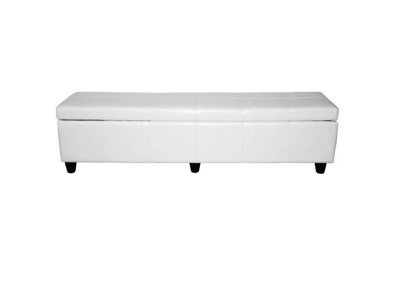 Banc banquette kriens xxl, 180x45x45cm, cuir reconstitué, blanc