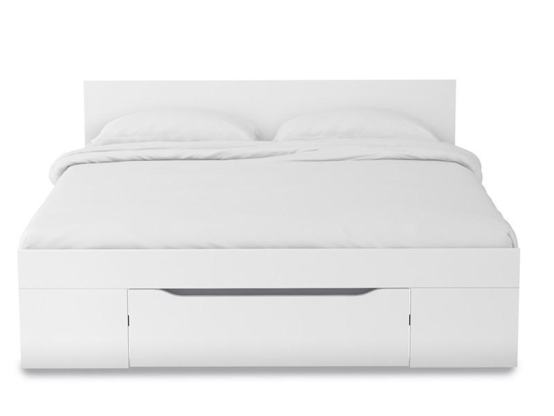 lit adulte avec tiroir coloris blanc et gris dim. Black Bedroom Furniture Sets. Home Design Ideas