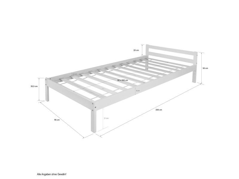 Chic lit enfant 90 x 200 cm lit en bois naturel de qualité avec bords et poteaux arrondis