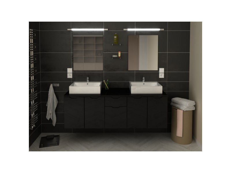 miroir salle de bain 150 cm meuble de salle de bain double vasque cm noir liana l x l x h vente. Black Bedroom Furniture Sets. Home Design Ideas