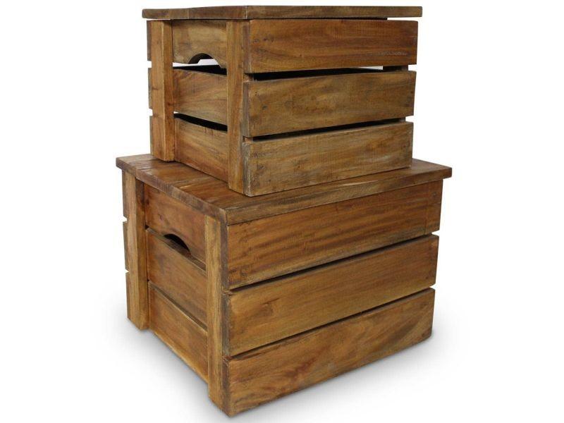 Stylé armoires et meubles de rangement edition tallinn jeu de caisse de rangement 2 pcs bois de récupération massif
