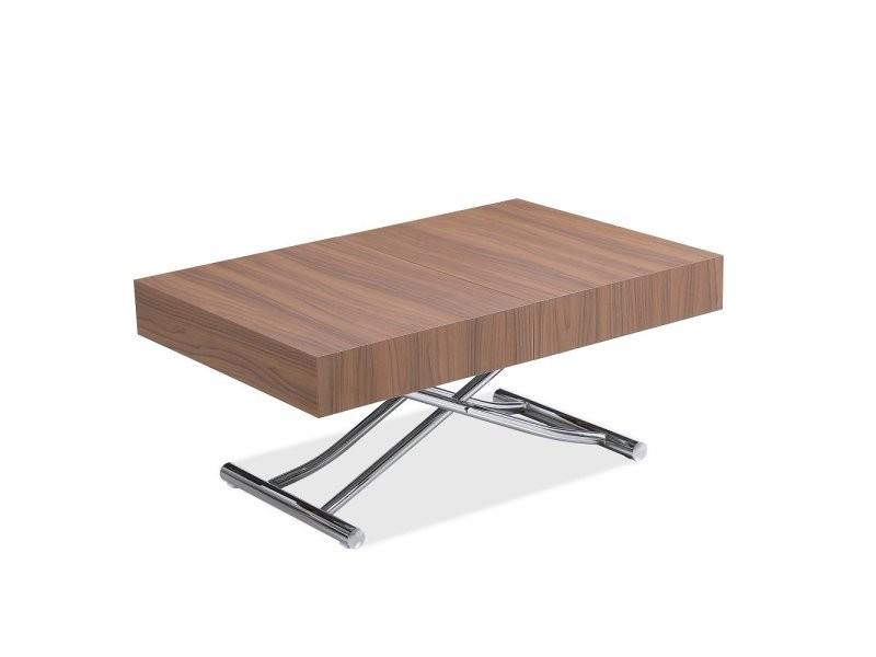 Table basse relevable extensible albatros design coloris noyer pied chromé 120/221 x 80 cm 20100991115