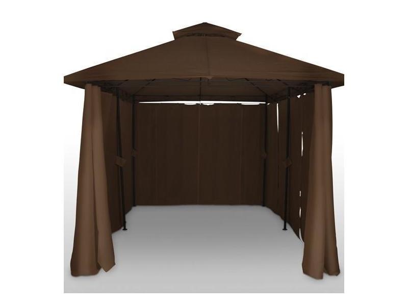 tonnelle de jardin pavillon barnum m tal 4x3 marron helloshop26 2201015 vente de parasol. Black Bedroom Furniture Sets. Home Design Ideas