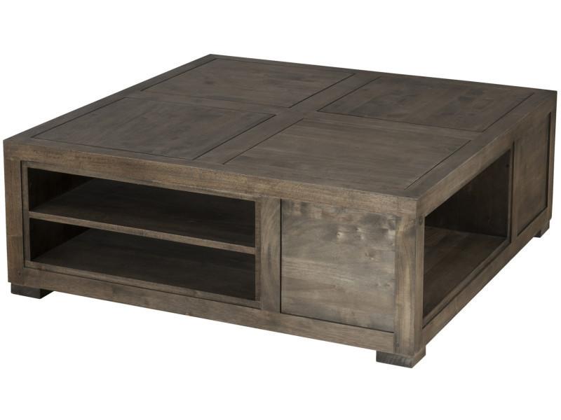 Table Basse Carrée Avec Niches De Rangement En Bois Massif Hévéa