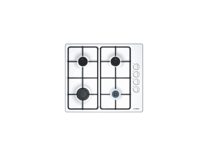 Table de cuisson gaz - 4 foyers - 1 foyer rapide 3000w - 58cm - blanc