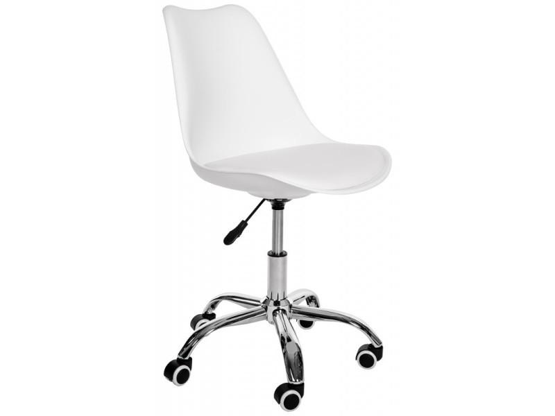 Finley - chaise fauteuil de bureau à roulettes design enfant h 45/55 cm - dossier ergonomique + assise confortable - blanc