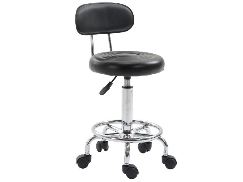 Tabouret de massage tabouret de travail pivotant 360° hauteur assise réglable 48-64 cm simili cuir noir métal chromé
