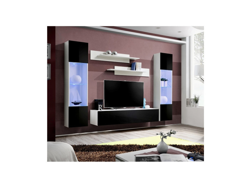 Ensemble meuble tv mural - fly iii - 260 cm x 190 cm x 40 cm - blanc et noir