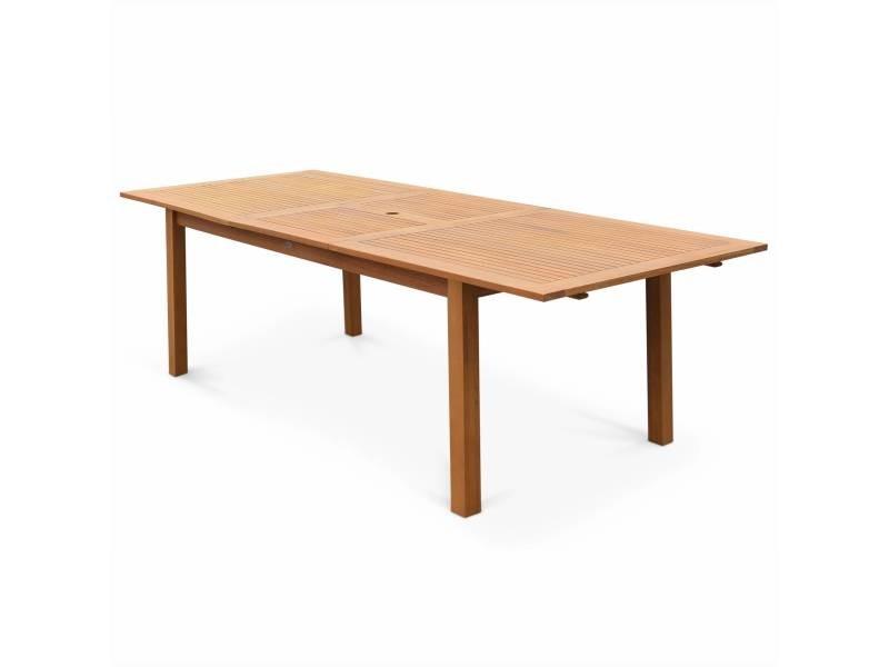 Table de jardin en bois almeria 180-240cm rectangulaire avec allonge ...
