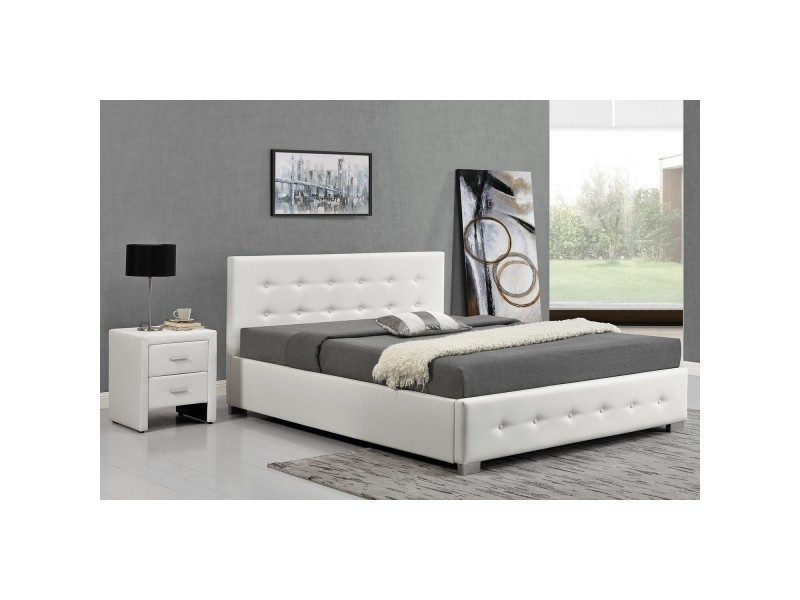 lit newington structure de lit capitonn e blanc avec coffre de rangement int gr 160x200 cm. Black Bedroom Furniture Sets. Home Design Ideas
