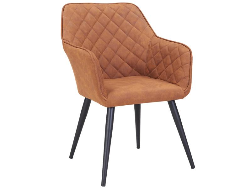Duhome fauteuil salle à manger aspect en cuir marron orangé design retro avec pieds en metal 8058