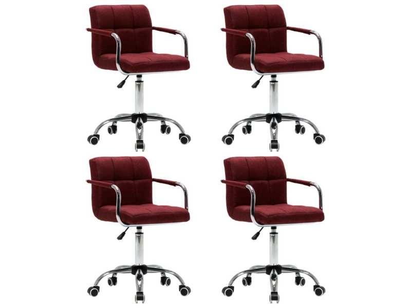 Vidaxl chaises pivotantes de salle à manger 4 pcs rouge bordeaux tissu
