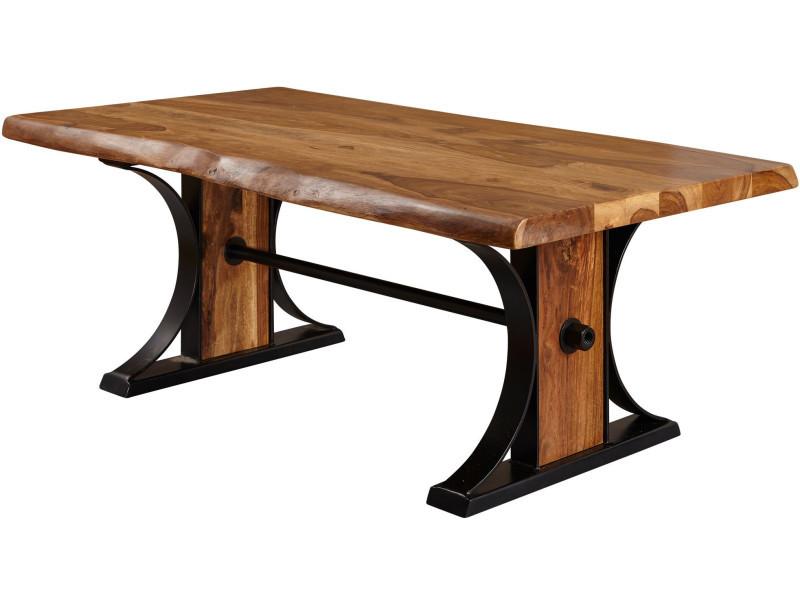 Table basse rustique marron en bois massif sheesham et Table bois rustique