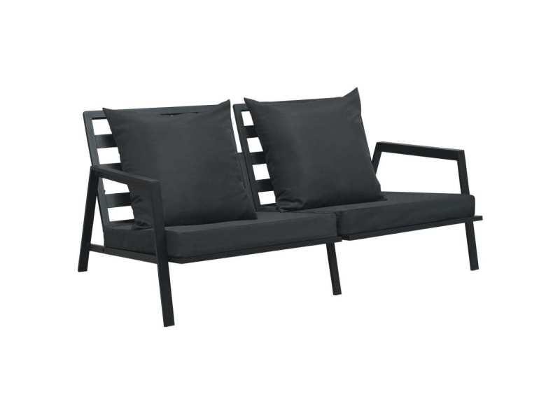 Moderne sièges de jardin reference caracas canapé de jardin à 2 places avec coussins gris foncé aluminium