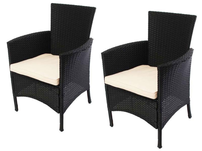 Lot de 2 chaises de jardin romv anthracite, dim 85,5 x 61 x 60 cm -pegane-